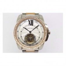 Replica Calibre de Cartier Tourbillon Stainless Steel & Rose Gold White Dial Tourbillon