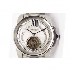 Replica Calibre de Cartier Tourbillon Stainless Steel White Dial Tourbillon