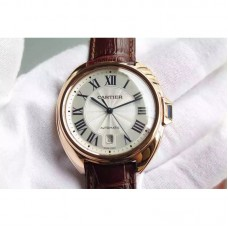 Replica Cartier Cle 40 MM Rose Gold White Dial