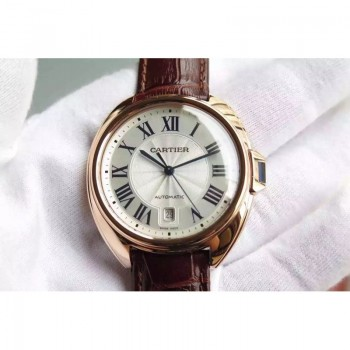 Cartier Cle 40 MM Or rose Cadran blanc