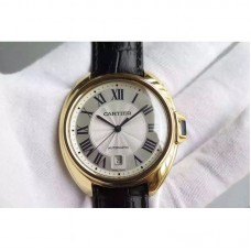 Replica Cartier Cle 40MM Yellow Gold White Dial