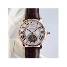 Replica Cartier Rotonde Flying Tourbillon W1556215 Rose Gold Silver Dial