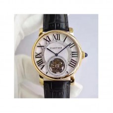 Replica Cartier Rotonde Flying Tourbillon W1556215 Yellow Gold Silver Dial