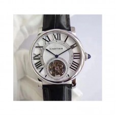 Replica Cartier Rotonde Flying Tourbillon W1556216 Stainless Steel Silver Dial