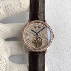 Replica Cartier Rotonde Tourbillon Rose Gold & Diamonds Diamond Dial Tourbillon