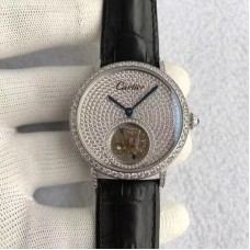 Replica Cartier Rotonde Tourbillon Stainless Steel & Diamonds Diamond Dial Tourbillon