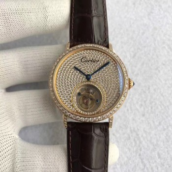 Cartier Rotonde Tourbillon Or jaune & Diamants diamant Dial Tourbillon