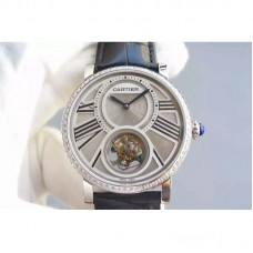 Replica Cartier Rotonde Tourbillon Stainless Steel & Diamonds White Dial Tourbillon