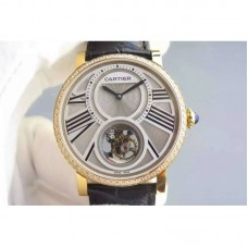 Replica Cartier Rotonde Tourbillon Yellow Gold & Diamonds White Dial Tourbillon