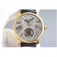 Replica Cartier Rotonde Tourbillon Yellow Gold White Dial Tourbillon