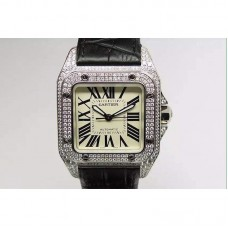 Replica Cartier Santos 100 39MM Stainless Steel & Diamonds