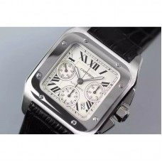 Replica Cartier Santos 100 Chronograph Stainless Steel White Dial