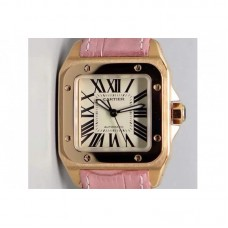 Replica Cartier Santos 100 Midsize Rose Gold White Dial