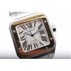 Replica Cartier Santos 100 Midsize Stainless Steel & Rose Gold White Dial