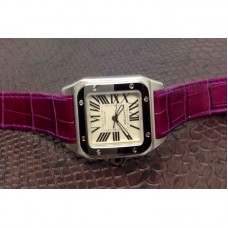 Replica Cartier Santos 100 Midsize Stainless Steel White Dial Purple Leather Strap