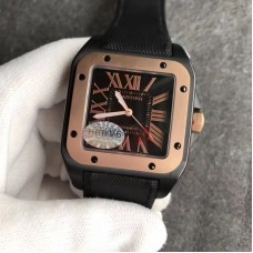 Replica Cartier Santos 100 XL WSSA0006 PVD & Rose Gold Black Dial