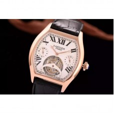 Replica Cartier Tortue Tourbillon Rose Gold White Dial Tourbillon