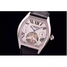 Replica Cartier Tortue Tourbillon Stainless Steel White Dial Tourbillon