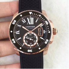 Replica Calibre De Cartier Diver W7100052 42MM Rose Gold Black Dial