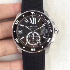 Replica Calibre De Cartier Diver W7100056 42MM Stainless Steel Black Dial
