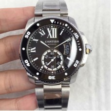 Replica Calibre De Cartier Diver W7100057 42MM Stainless Steel Black Dial