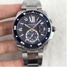 Replica Calibre De Cartier Diver W7100057 42MM Stainless Steel Blue Dial