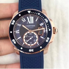 Replica Calibre De Cartier Diver WGCA0010 42MM Rose Gold Blue Dial