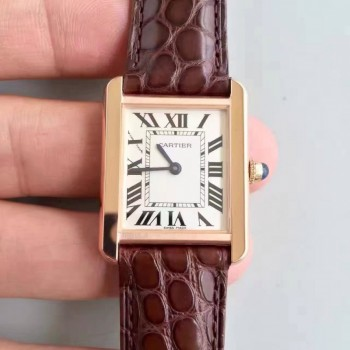 Cartier Tank Solo Dames W5200024 24MM x 31MM Or rose Cadran blanc Quartz