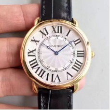Replica Ronde Luis Cartier W6800251 42MM Yellow Gold Silver Dial