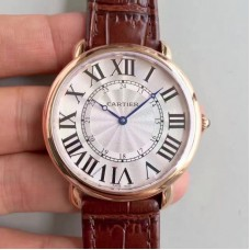 Replica Ronde Luis Cartier W6801004 42MM Rose Gold Silver Dial