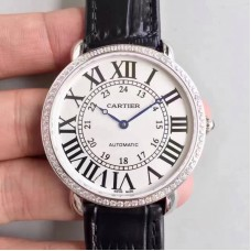 Replica Ronde Luis Cartier WR000551 36MM Stainless Steel & Diamonds White Dial