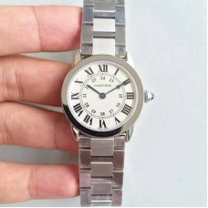 Replica Ronde Solo De Cartier Ladies W6701004 29MM Stainless Steel White Dial Quartz