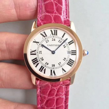 Ronde Solo De Cartier Dames W6701008 36MM Or rose Cadran blanc Quartz
