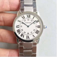 Replica Ronde Solo De Cartier W6701005 36MM Stainless Steel White Dial Quartz