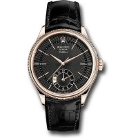 Réplique montre Rolex Cellini Dual Time 39 mm cadran noir 50525