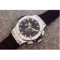 Replica Hublot Big Bang Aero Bang Diamonds Stainless Steel Skeleton Black Dial