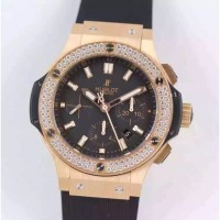 Réplique Hublot Big Bang Chronograph 301.PX.1180.RX.1104 Diamants en or rose Cadran noir