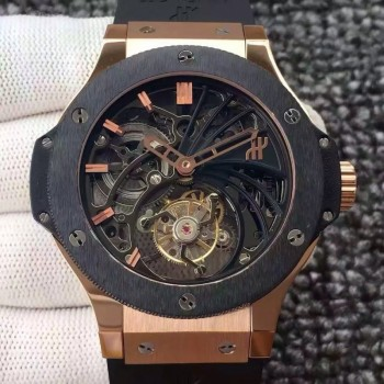Réplique Hublot Big Bang Skeleton Tourbillon en or rose cadran squelette en céramique