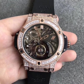 Réplique Hublot Big Bang Tourbillon cadran squelette en or rose diamant