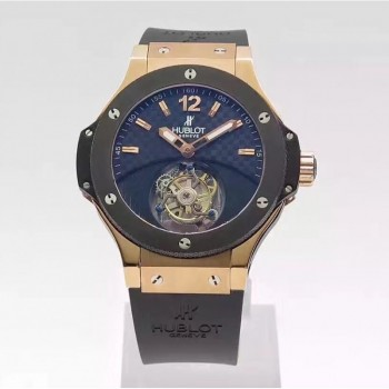 Réplique Hublot Big Bang Tourbillon Solo Bang 305.PM.131.RX Cadran en fibre de carbone en or rose