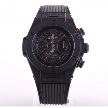 Réplique Hublot Big Bang Unico All Black Sapphire 411.JB.4901.RT cadran squelette en céramique