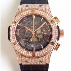 Réplique Hublot Classic Fusion Aerofusion 525.OX.0180.LR.1704 Cadran Squelette Noir Or Rose Diamants
