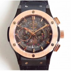 Replica Hublot Classic Fusion Aerofusion Chronograph Black Magic 525.CM.0170.RX Ceramic Black Skeleton Dial