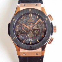 Réplique Hublot Classic Fusion Aerofusion Chronograph Dutch 525.OM.0180.HR.CSS16 Rose Gold Black Skeleton Dial