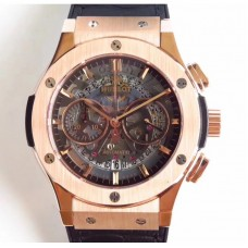 Replica Hublot Classic Fusion Aerofusion Chronograph King Gold 525.OX.0180.LR Rose Gold Black Skeleton Dial