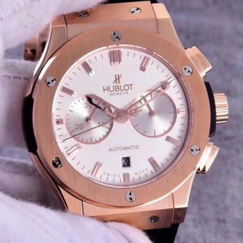 Réplique Hublot Classic Fusion Chronograph King Gold Opalin 521.OX.2611.LR Cadran argenté en or rose