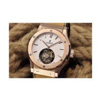 Réplique Hublot Classic Fusion Tourbillon Or Rose Cadran Blanc