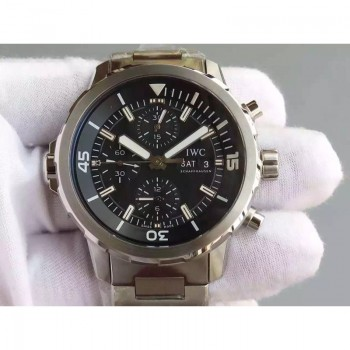 Replica IWC Aquatimer IW376803 Chronograph Stainless Steel Black Dial