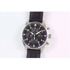 Replica IWC Pilot Chronograph IW377709 Stainless Steel Black Dial