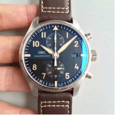 Replica IWC Pilot Chronograph IW387808 Stainless Steel Black Dial